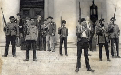 Armed Black Panthers on the steps of the California State Legislature, June 1967.