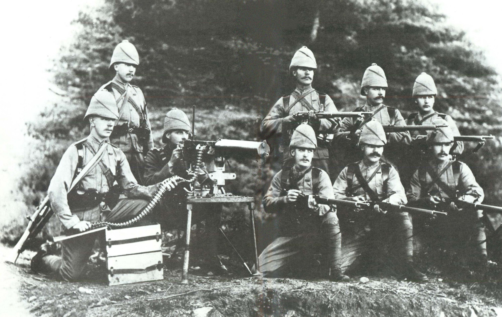 British Maxim gun section, Chitral Expedition, Pakistan, 1895.