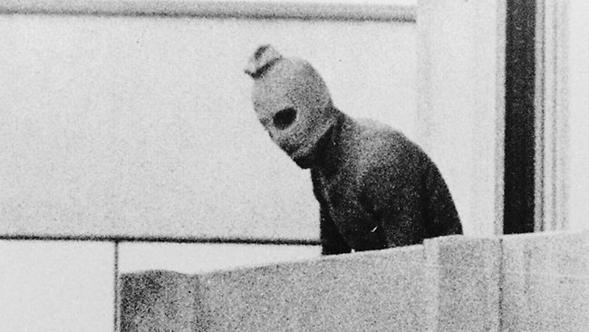 Black September gunman, Munich Olympic village, 1972.