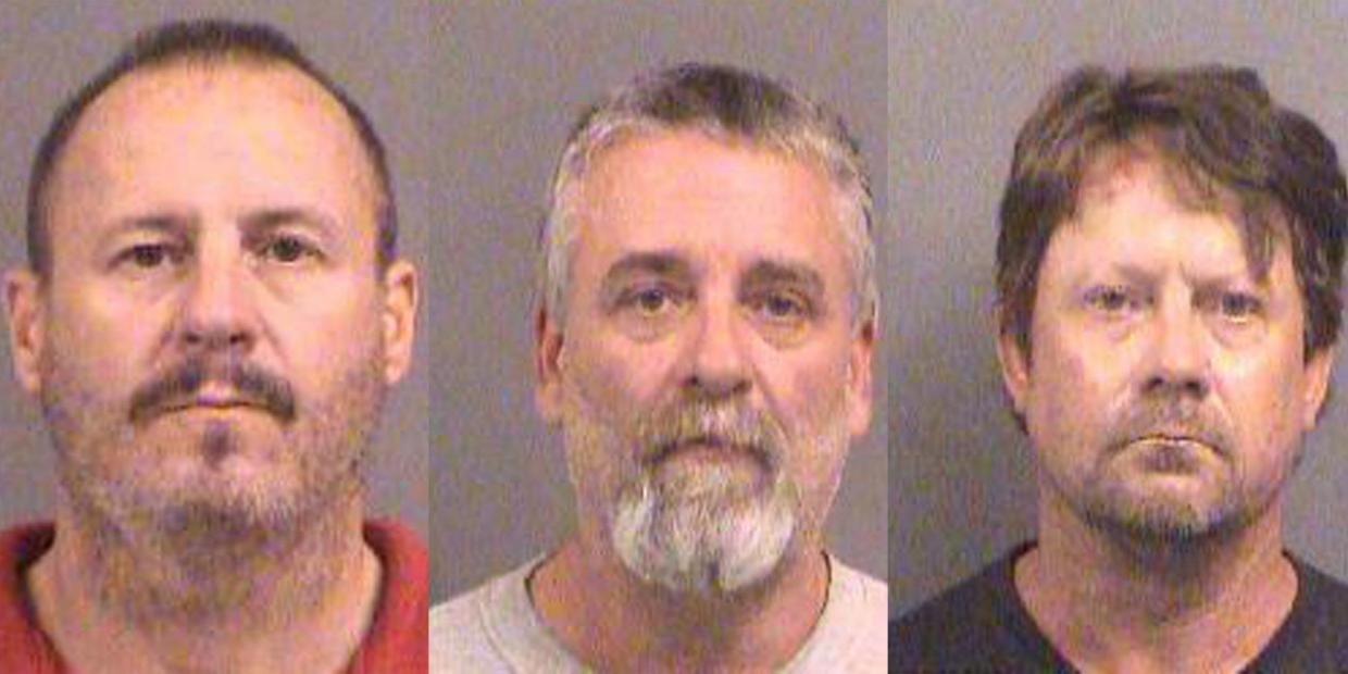 On trial for terrorism (from left): Curtis Allen, Gavin Wright, Patrick Stein.
