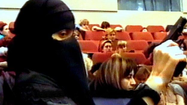 Chechen terrorist inside the Podshipnikov Zavod theater, Moscow,  Oct. 23, 2002.