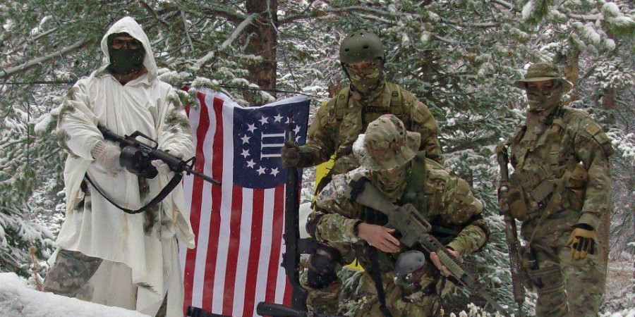 "Members of a ""Three Percenter"" militia on winter maneuvers."