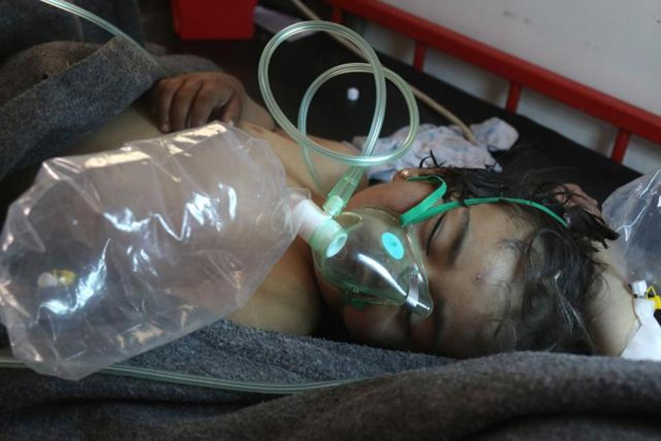 Victim of Syrian gas attack/Hindustan Times photo