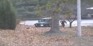 North Korean soldier runs for the border. (AP)