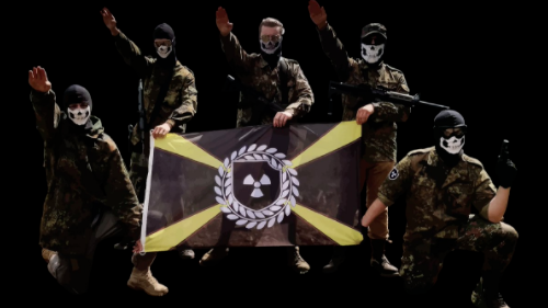 Atomwaffen members and flag (Huffington Post)