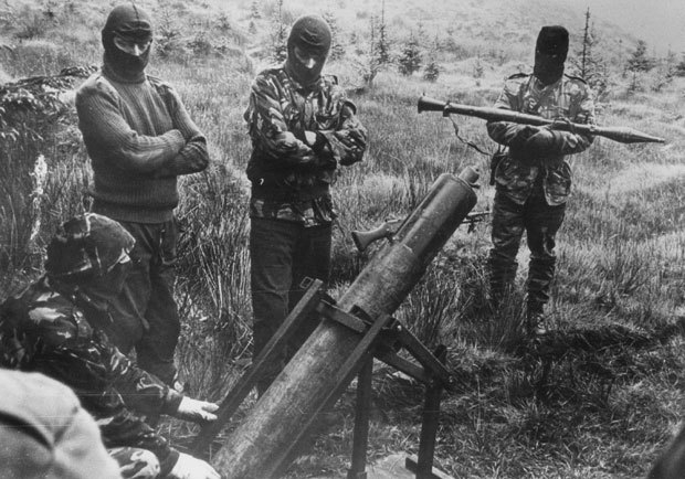 Irish Republican Army unit with homemade mortar. (The Sun)