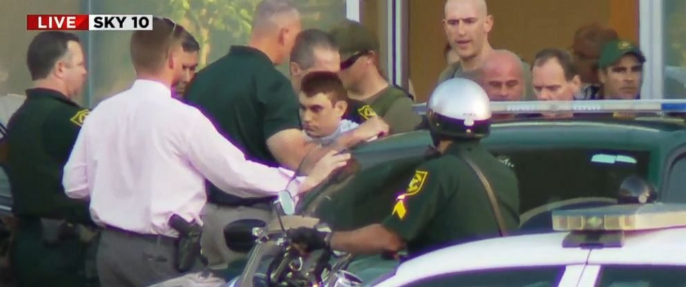 At center, massacre suspect Nikolas Cruz. (Photo: ABC News)